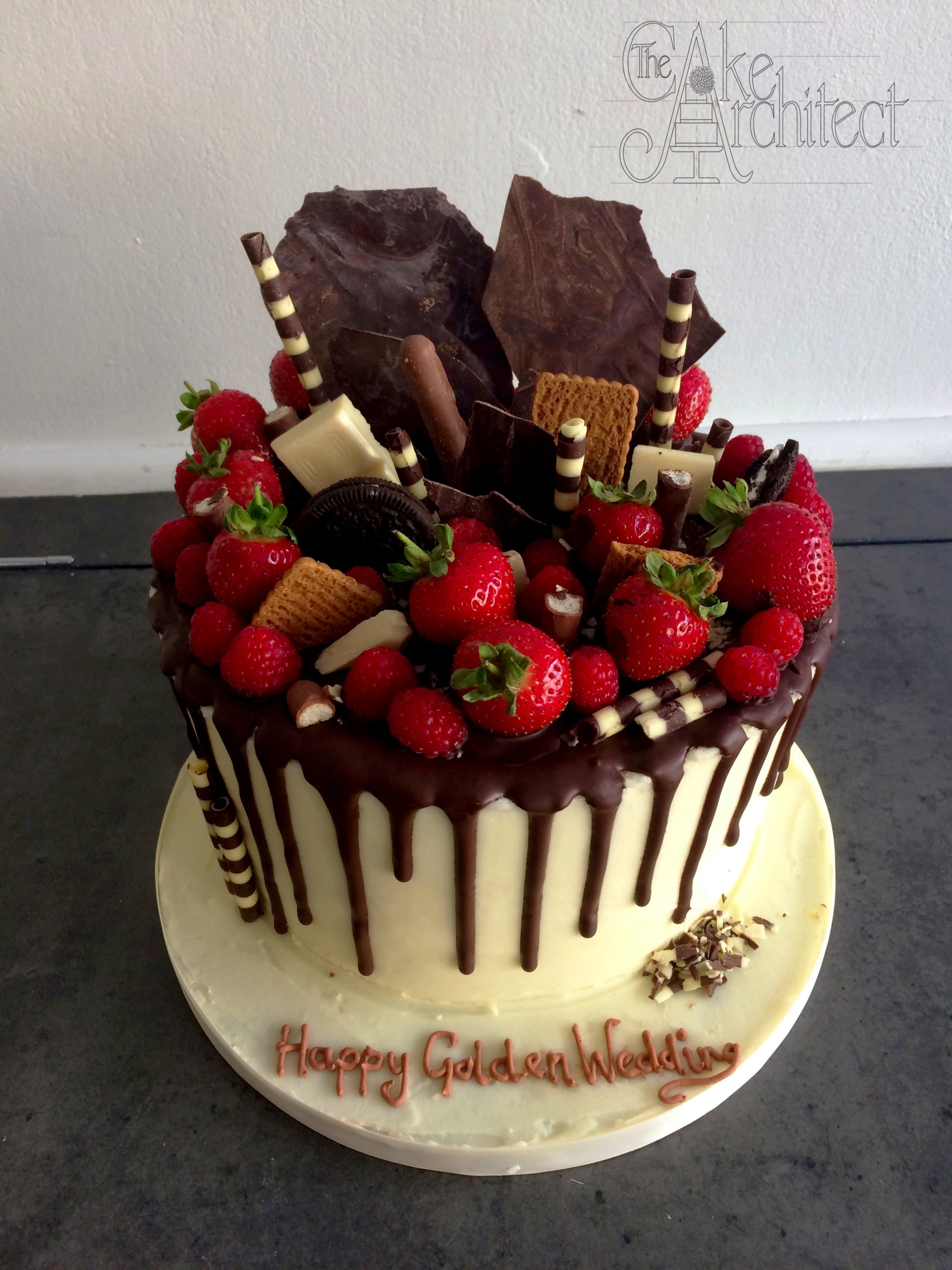 Celebration Cake Birthday Chocolate Drip with Chocolate and Fresh Fruit Topping