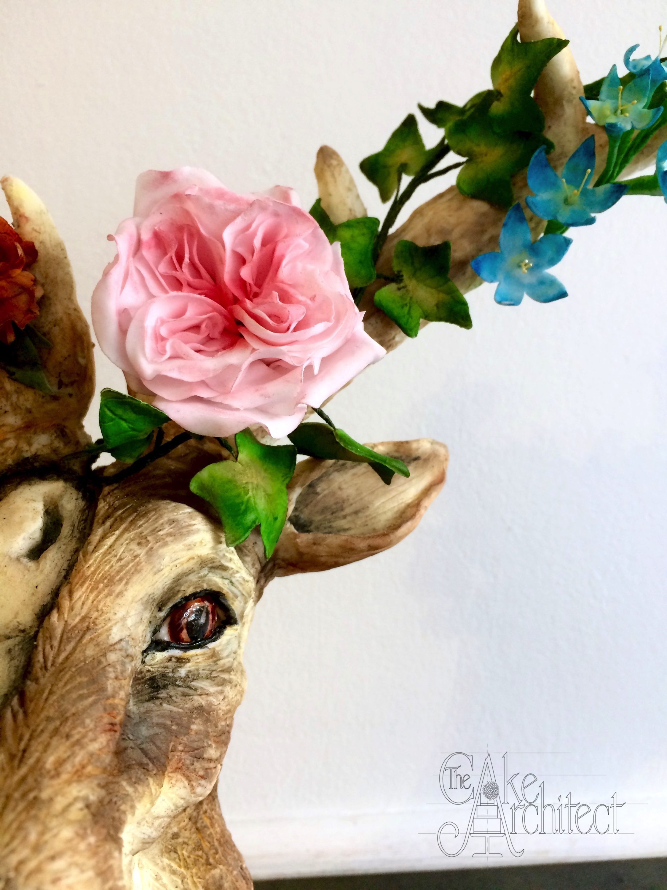 Celebration Cake Sculpted Stag Head with Skull and Sugar Flower Details