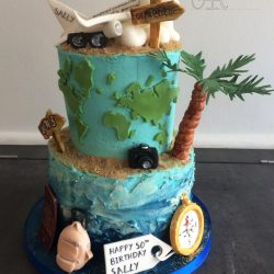 Celebration Cake 2 Tier Birthday Travel Inspired with Palm Tree and Beach Topped