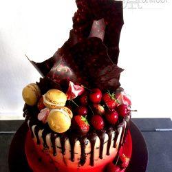 Celebration Cake Airbrushed with Chocolate Drip and Chocolate Shard and Fresh Fruit Chocolate Topped