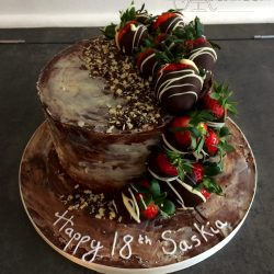 Celebration Cake Birthday Chocolate with Dipped Strawberries