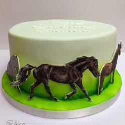 Celebration Cake Birthday with Painted Horses