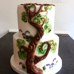 Celebration Cake Christening 2 Tier with Sculpted Tree Detail and Painted Flowers
