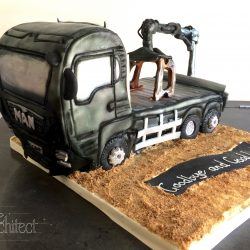 Celebration Cake Sculpted Truck with Crane