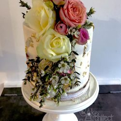 Celebration Cake tall 1 tier with gold leaf detail and fresh flowers
