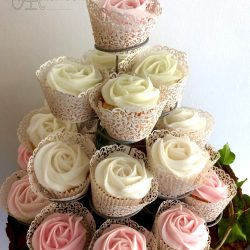 Celebration Cupcake Tower in White and Pastel Pink