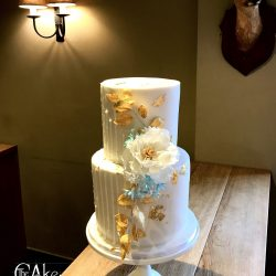Wedding Cake 2 Tier White Drip with Sugar Peony Flower and Gold Leaf Detail