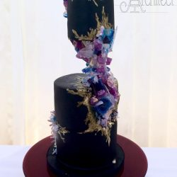 Wedding Cake 2 Tier with Sculpted Geode Accent