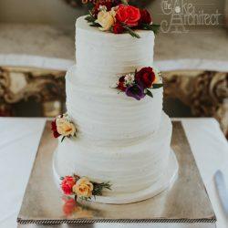 Wedding Cake 3 Tier Buttercream with fresh flowers