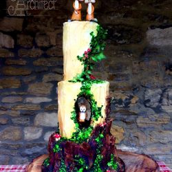 Wedding Cake 3 Tier Sculpted woodland with Fox Toppers