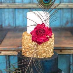 Wedding Cake 3 Tier Sequin with Peacock Feathers