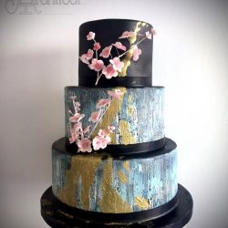 Wedding Cake 3 Tier Sugarpaste black and duck egg blue with cherry blossom sugar flowers
