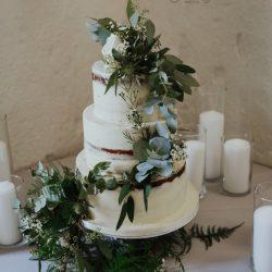 Wedding Cake 3 Tier semi naked foliage
