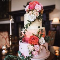 Wedding Cake 4 Tier Buttercream ombre with fresh flowers