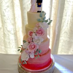 Wedding Cake 4 Tier Ombre with Cascade of Sugar Flowers and Bride Groom Topper(1)