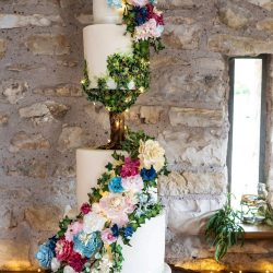 Wedding Cake 4 Tier Sculpted Tree with cascade of sugar flowers and foliage