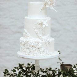 Wedding Cake 4 Tier White Sugarpaste with Sugar flowers and peony