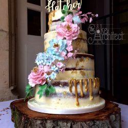 Wedding Cake 4 Tier semi naked sugar flowers