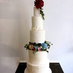 Wedding Cake 5 Tier Sugarpaste with white piped detail and sugar flower tier
