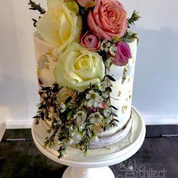 celebration cake sugarpaste gold leaf flowers