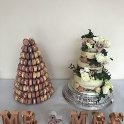 semi naked cake and macaron tower 3